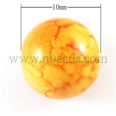 Closeout Spray Painted Acrylic Beads, DIY Material For Captivating Jewelry, Round, Orange, 10mm, Hole: 2mm(China (Mainland))