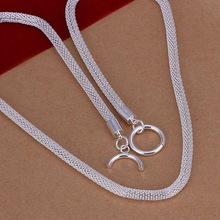 Free Shipping 925 Sterling Silver Jewelry Necklace Fine Fashion Cute Net Chains Pendant Necklace Top Quality SMTN087