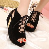 Free Shopping 2013 open toe shoe platform shoes cross straps platform shoes fashion sandals fashion gladiator