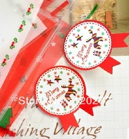 FREE SHIPPING!Christmas red/green medal sealing paste decoration stickers gift stickers