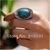 Fashion Vintage Tibetan Style Alloy Adjustable Turquoise Rings  Tibetan Ethnic Jewelry for Woman.Man Wholesale Free Shipping