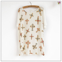 New summer  gem cross pattern Chiffon loose short sleeve shirt  Free shipping    K27