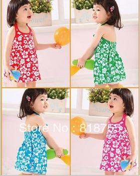 Free EMS shipping 30 pcs/lot 2013 summer flower dress kids girls children vest dresses baby girl beach braces hot sale