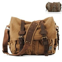 New NWT Men Women Canvas Cow Leather Shoulder Bag Messenger Bag School Bag