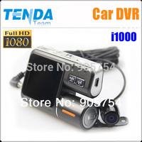 "Separate Dual Lens Car DVR camera Recorder Video i1000 with HD 1080P + G-Sensor + MOV + 2.0"" LCD + AV-IN !Free Shipping"