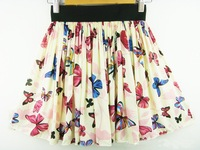 Korean Fashion Women chiffon Pleated Waisted Short Skirt Printed butterfly all match Free Shipping SK-063