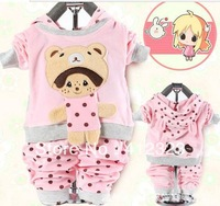 2013 new baby girls clothes set kids cute hoody sweatershirt+pant clothing suits for children