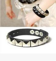 Fashion Gothic Rock Punk Pyramid  Rivet Spike Cuff Bangle Leather Bracelet Wristband 261223-261226