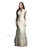 Free shipping 2015 sexy V-Neck Floor-length lace  mermaid wedding dresses cheap vestido de noiva