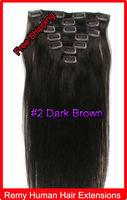 "20"" 22"" Clip In Virgin Remy Human Hair  Extensions #2 Dark Brown 100g"