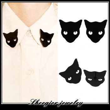 Fashion Black Cat Brooch Pins personality Collar Brooches for women fine jewelry 1314 jewelry wholesale