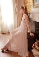 Discount! Beautiful Women Maxi Dress White Ruffles Collar Maxi Dress Dhiffon without Sleeves Silk Not Two Piece Maxi Dress