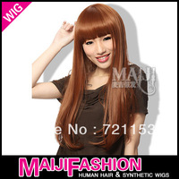 Free Shipping !!! Korean Fashion Synthetic Gold  Long Straight Hair Party Full Wig/Wigs Top Quality