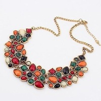 Europe and American  Vintage Noble Geometric Colorful Drop Style Gem Bib Choker Necklace Fashion Jewelry 2014 For Women K44