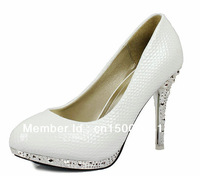 Women's fashion high heels White snakeskin pattern wedding shoes  size :34-39  Bridal shoes Free shipping