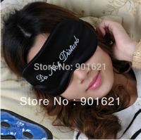 "Free shipping Novelty ""Do not disturb"" words pattern AdjustableTravel sleep Eye mask with 2 GEL cold/hot compress,silk eye shade"