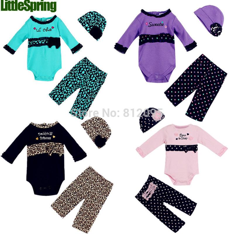 2014 nuovo vendita calda cotone bambino ragazze abbigliamento set 3 pezzi cap+romper+pant estate principessa vestiti 3- Pezzi abiti al dettaglio