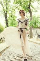Long White Maxi Dresses New Fashion 2013 Chiffon Ruffle Sleeve Plus Size Maxi Dresses Pleated Bohemian Maxi Dress for Women