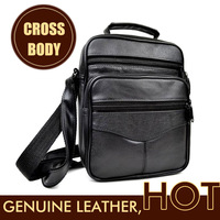 HOT SALE mens messenger bag Black Genuine Leather Fuall Grain Leather men bags Tumble texture Leather bag 25*19*9cm Cross body