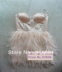 Upscale Ostrich Feather Crystal***Short Design petite Bridal Wedding Dresses Gown Ball Party Dress(China (Mainland))