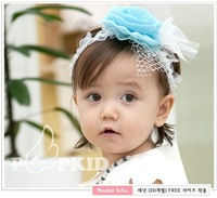 Free shipping Fashion headbands with chiffon lace flower and hairnet girls hairbands children accessories