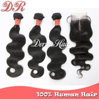 4pcs Lot Brazilian Body Wave 3pcs Hair Bundles Unprocessed Human Virgin Hair Extensions With Virgin Hair MiddlePart Lace Closure