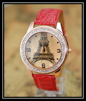 Fashion women's Casual Luxurious  Diamond Eiffel Tower Wristwatches 6 Colors Ladies' Quartz  rhinestone  Watches for women
