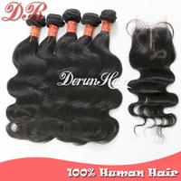 Peruvian Virgin Hair Body Wave 6pcs Lot Middle Part Lace Closure With 5pcs Hair Bundles Unprocessed Human Virgin Hair Extensions