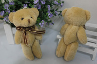Y20 free shipping galloon bow tie brown plush toy teddy bear 12pcs/lot 12CM diamond joint teddy bouquet material/phone pendant