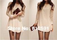 HK Free Shipping Lady Temperament Chiffon Round Neck Long-sleeved Casual Fashion White Dress For Women