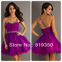 Free Shipping High Quality Sexy A-Line Short One Shoulder Sequins Embellished Prom Dress 2013 New Evening Gown CH2087