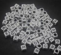 new hot 50pc/lot Rainbow Hair Rubber Band Loom Refill DIY   Alphabet beads 6*6mm