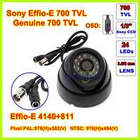 Freeshipping Surveillance 24 IR LED Night vision Color 1/3 SONY Effio-E 700TVL 3.6mm IR Indoor Security Mini Dome CCTV Camera