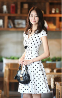 2013 New Fashion Women Girl Long Dot Dress V-Neck Party Cocktail Ladies Polka Dot V Neck Dress Plus Size Free Shipping