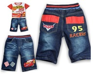New  baby boys cartoon clothing sets short sleeves cars T-shirt+short jeans pants summer suits  Free shipping