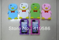 6 Colors 3D Cartoon Cute Penguin Shape  Soft Silicone Back Skin Case Cover For Apple iphone 5 5G + Free Button Sticker
