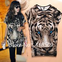2013 Hot Sale Fashion Animal pattern Tiger printed Tshirt Long Tops Womens Summer free shipping