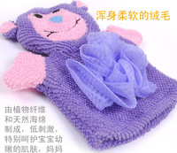 2PCS/LOT, 5 styles, 2014 hot sale baby  lovely animal Cartoon Wash Cleaning Bath Gloves Shower Brushes