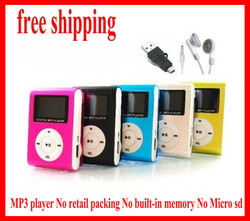 FREE shipping Mini Clip MP3 Player With LCD Screen support TF card up to 32GB No retail box No built-in memory No MICRO SD(China (Mainland))