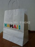 H1405- Kraft Paper Handle Bags/ Gift Bags MOQ 1000PCS Environmental Reticule Free Shipping Paper Shopping Bag