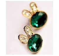 Green crystal rabbit earrings   free shipping