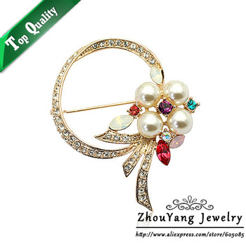 ZYX021 Imitation Pearl Crystal Brooches 18K Champagne Gold Plated  Jewelry Austrian Crystal SWA Elements Wholesale
