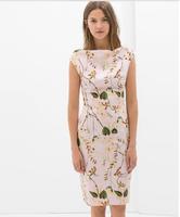 New Summer Dress For Women zara2014 Printed Sleeveless Slash Neck Vestidos Sheath Evening Party Dresses Lady Women Clothing