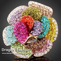2014 New Fashion Colorful Rhinestone Crystal Rose Flower Imitation Diamond Rings Jewelry For Women Free Shipping