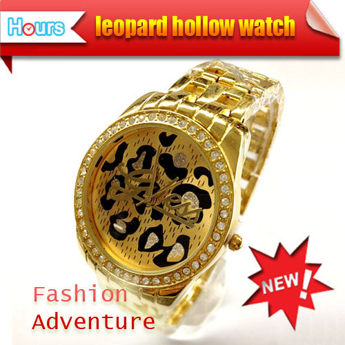 Free Shipping Exquisite Style GS Watch With Stainless Steel Band And Leopard Decoration In The Dial Flick Crystal Stone Inlaid(China (Mainland))