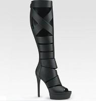 2013 summer women's platform pumps 100%genuine leather bootis strappy gladiator high heels sandals black/gray brand designer
