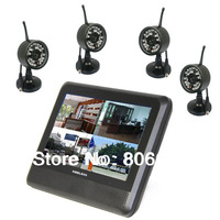 2.4Ghz  Digital 4CH  Wireless waterproof Camera & QUAD TFT LCD DVR System with 32Gb TF Card Supported Drop Shipping Available