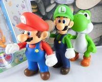 "Wholesale Retail Free Shipping Plastic Super Mario Bros 5"" 3PCS/SET Action figures Toys PVC Doll Gifts"