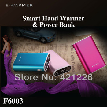 Factory Price! Smart Hand Warmer and Power Bank charger 6000mAh for iPhone/iPad/Tablet PC/Mobile phone (random Color) F6003
