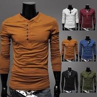 Korean Style Men 2015 Designer Henley Neck Brand T-Shirts Shirts Long Sleeve Tshirt Men Clothes Fashion T Shirt Tees for Mens